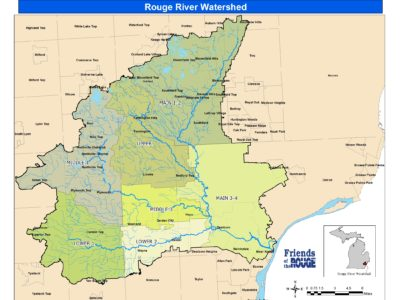 Rouge RIver Watershed map with Michigan
