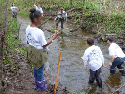 REP Monitoring Parameters Physical - students in water collecting samples