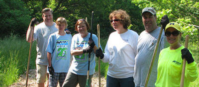 Volunteer group for clean up day on the Rouge River