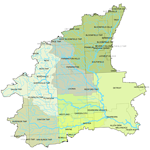 Rouge River Watershed map of the drainage system