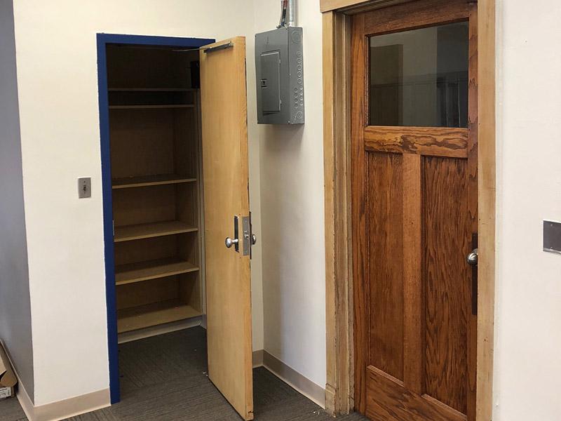 Closet and refinished door