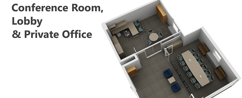 PARC Office rendering - Conference Room, Lobby & Private Office