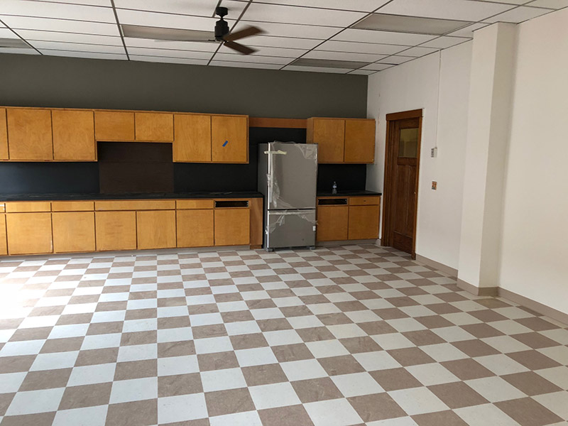 Lab, classroom, kitchen