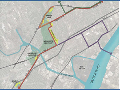 Map of the Tree Planting Locations for the Iron Belle Trail in Southwest Detroit