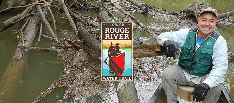 Man canoeing on the Rouge River Water Trail