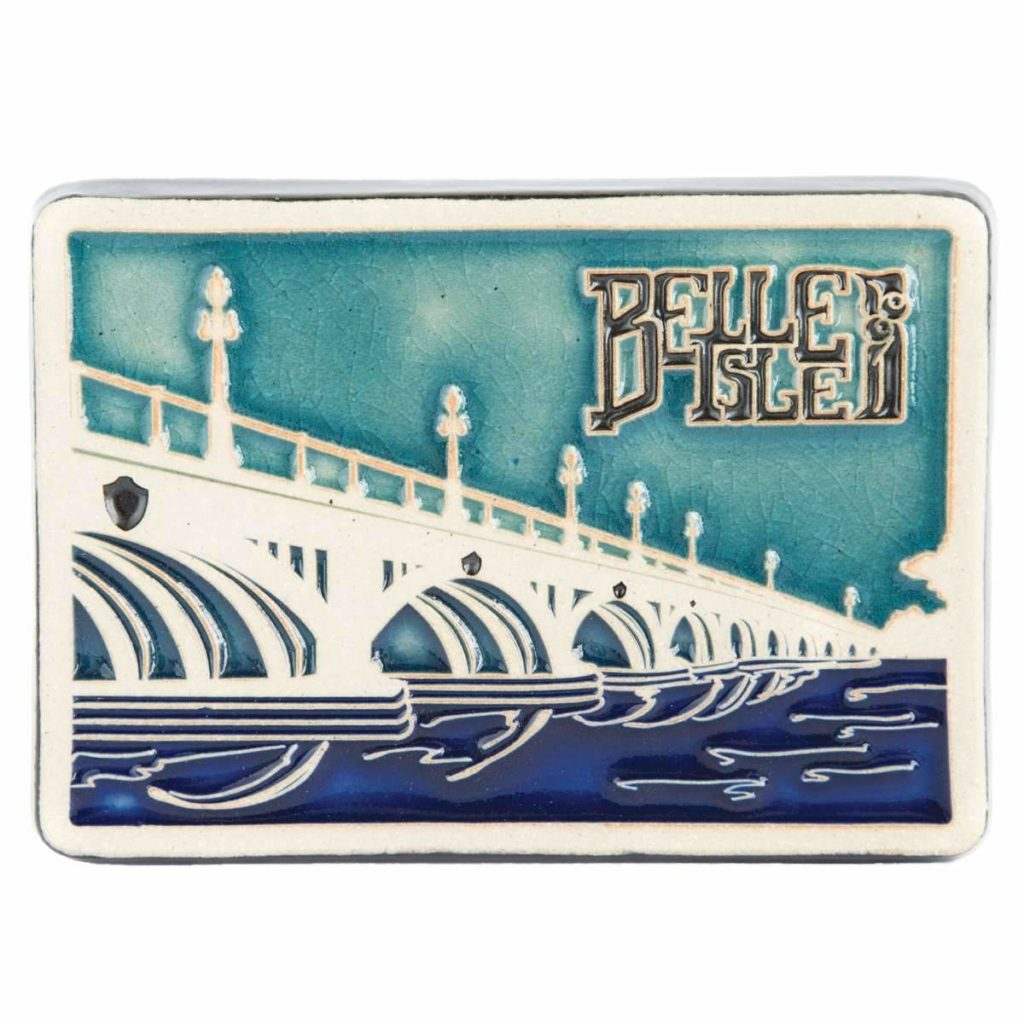 Detroit's Own Pewabic tile depicting the MacArthur Bridge to Belle Isle