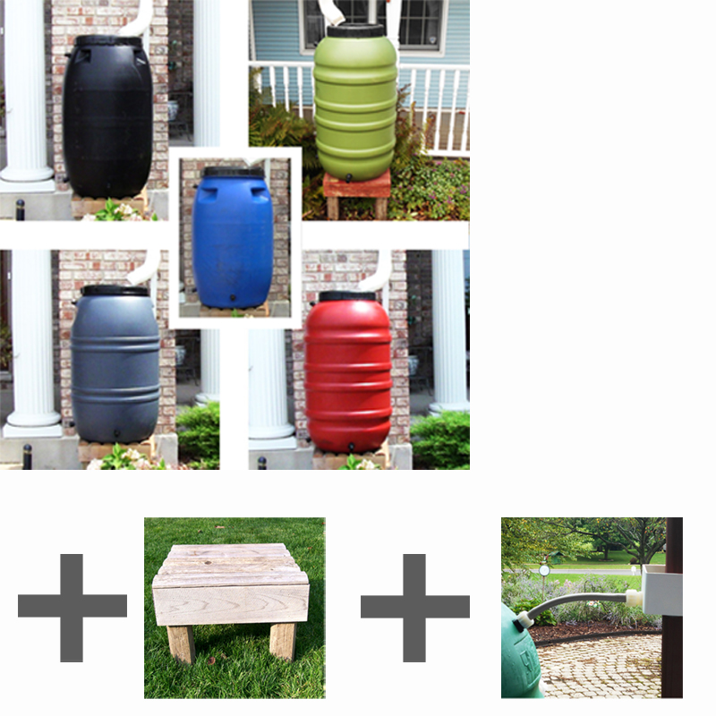 RAIN BARREL STARTER KIT Rain Barrel, Stand, & Diverter