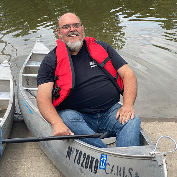 Mayor-Marsee in his canoe for National Canoe Day