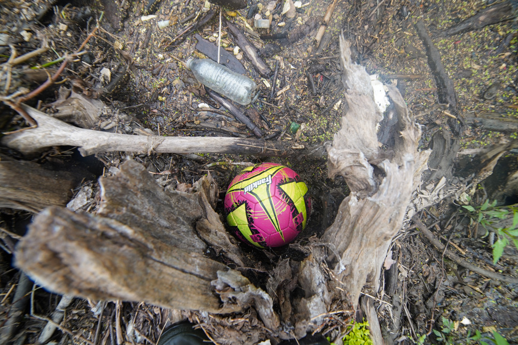 Log Jam Day 072421 discoveries of a soccer ball and water bottle